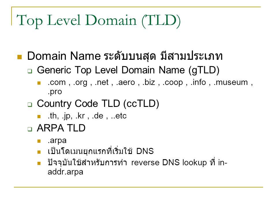 Top Level Domain (TLD) Domain Name ระดับบนสุด มีสามประเภท