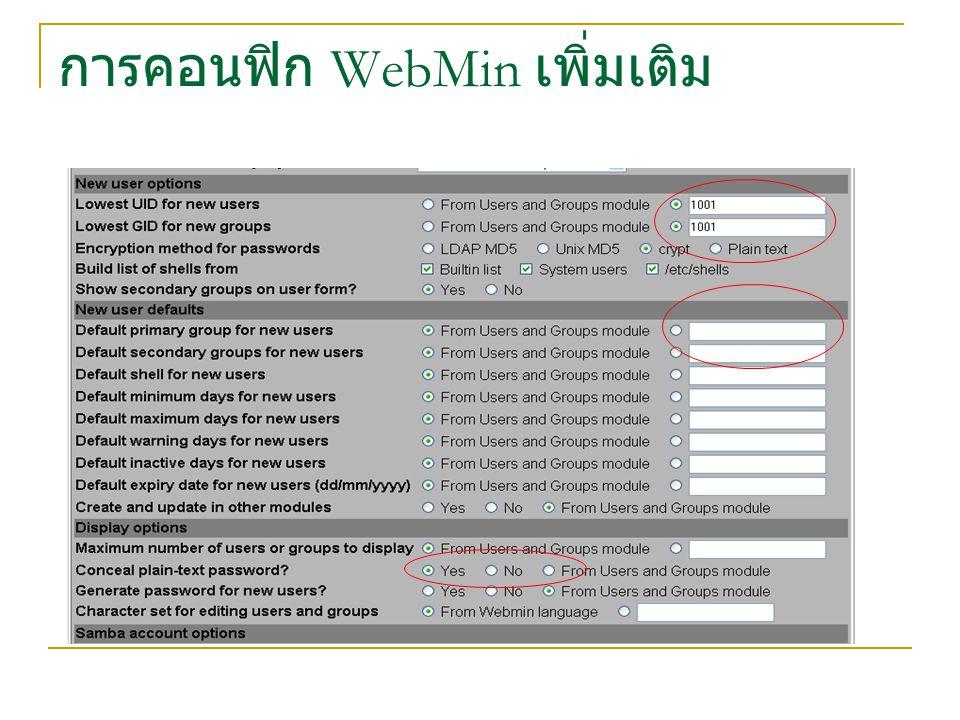 การคอนฟิก WebMin เพิ่มเติม