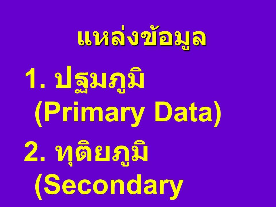 1. ปฐมภูมิ (Primary Data) 2. ทุติยภูมิ (Secondary Data)