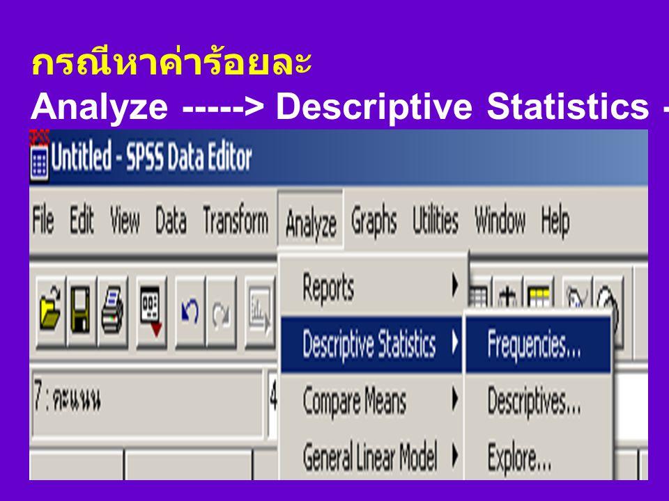 กรณีหาค่าร้อยละ Analyze -----> Descriptive Statistics -----> Frequencies