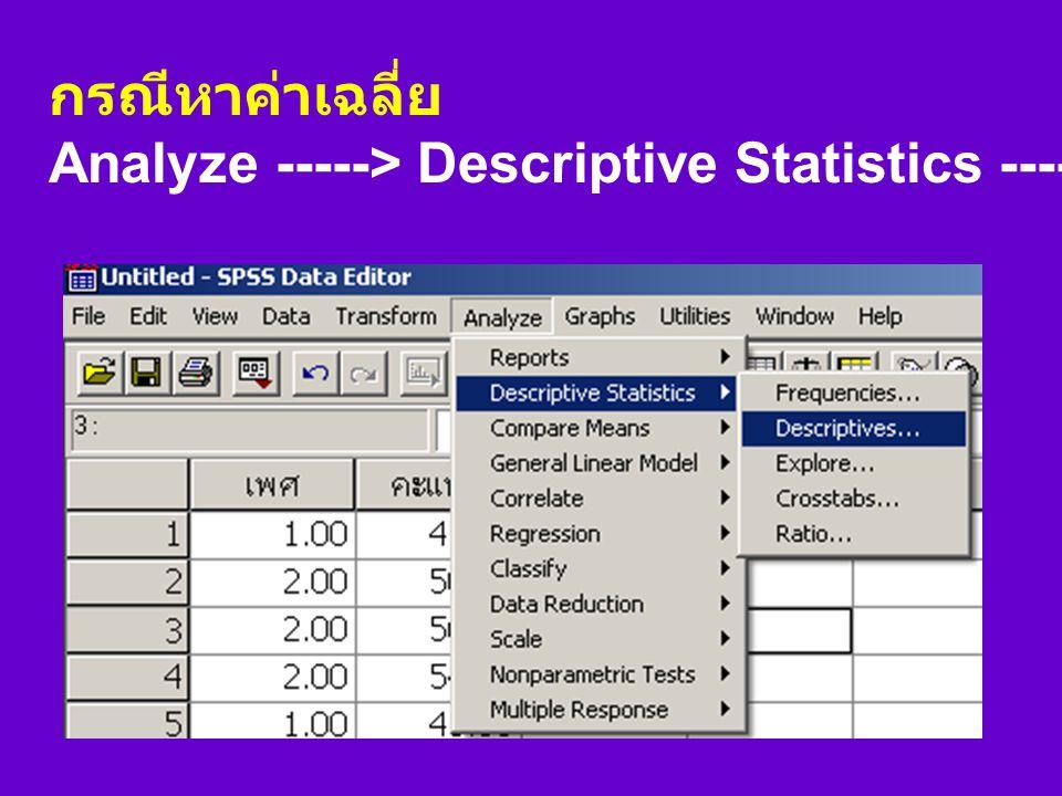 กรณีหาค่าเฉลี่ย Analyze -----> Descriptive Statistics -----> Descriptives...
