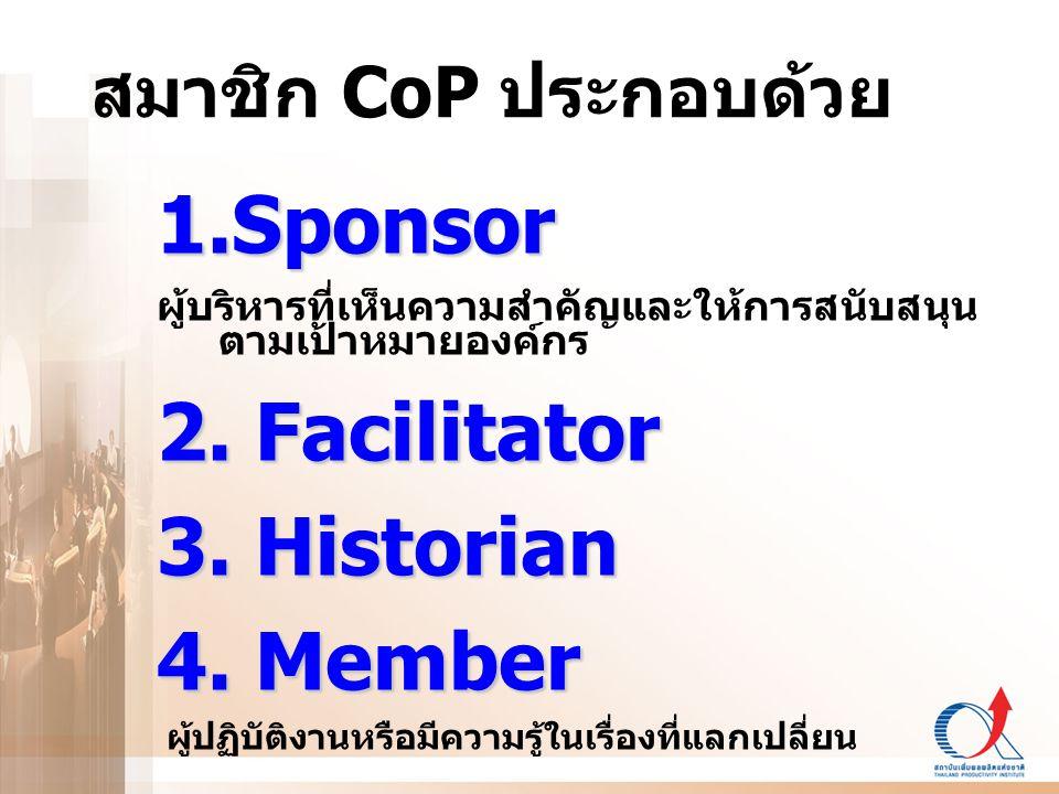 Sponsor 2. Facilitator 3. Historian 4. Member สมาชิก CoP ประกอบด้วย