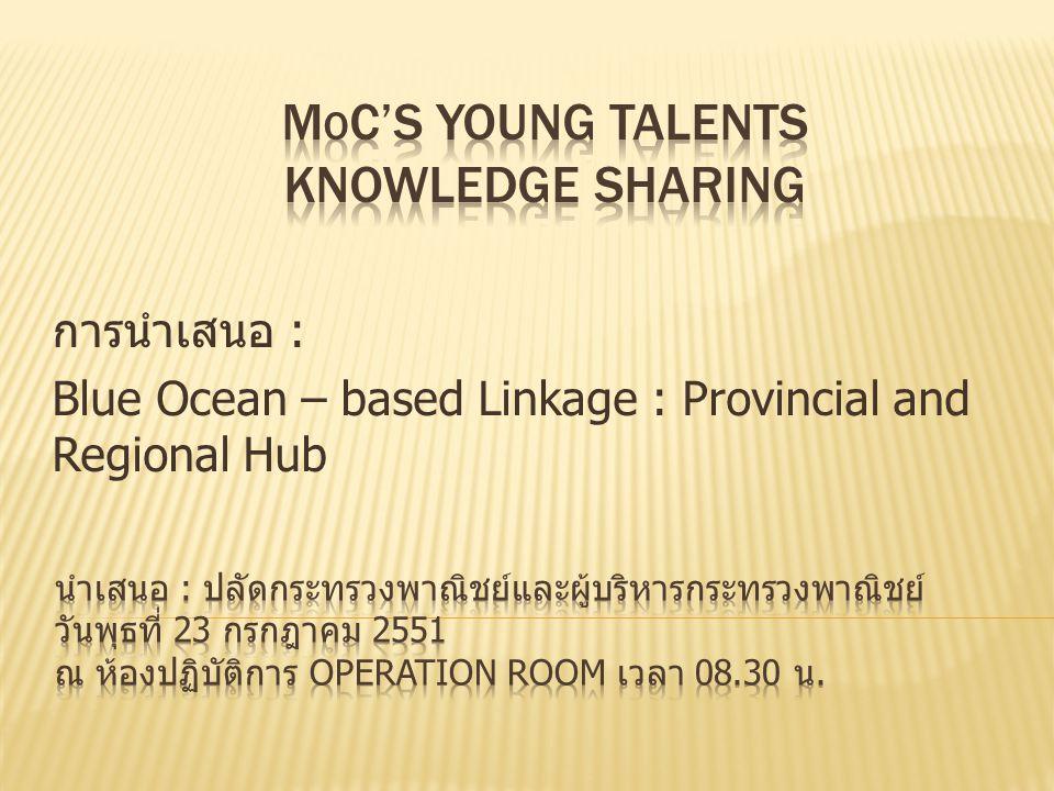 การนำเสนอ : Blue Ocean – based Linkage : Provincial and Regional Hub