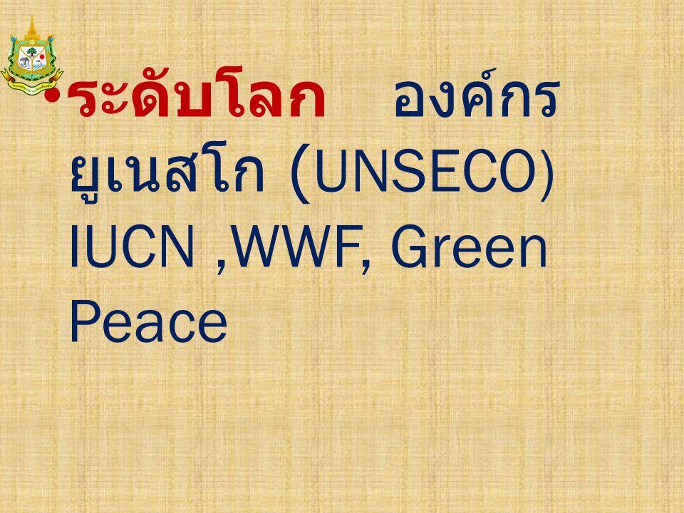 ระดับโลก องค์กรยูเนสโก (UNSECO) IUCN ,WWF, Green Peace