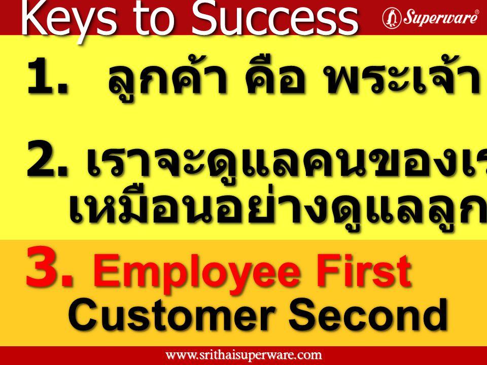 3. Employee First Keys to Success 1. ลูกค้า คือ พระเจ้า