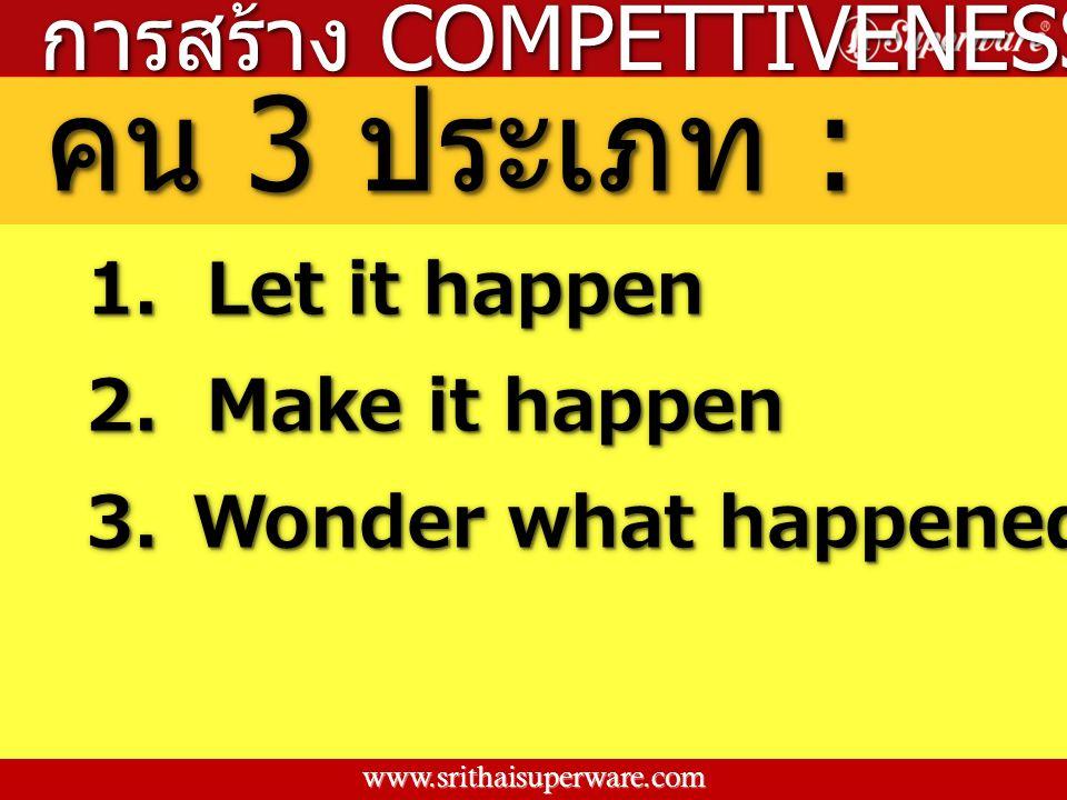 คน 3 ประเภท : การสร้าง COMPETTIVENESS 1. Let it happen