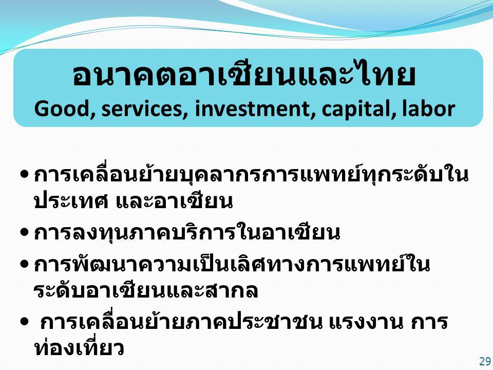 อนาคตอาเซียนและไทย Good, services, investment, capital, labor