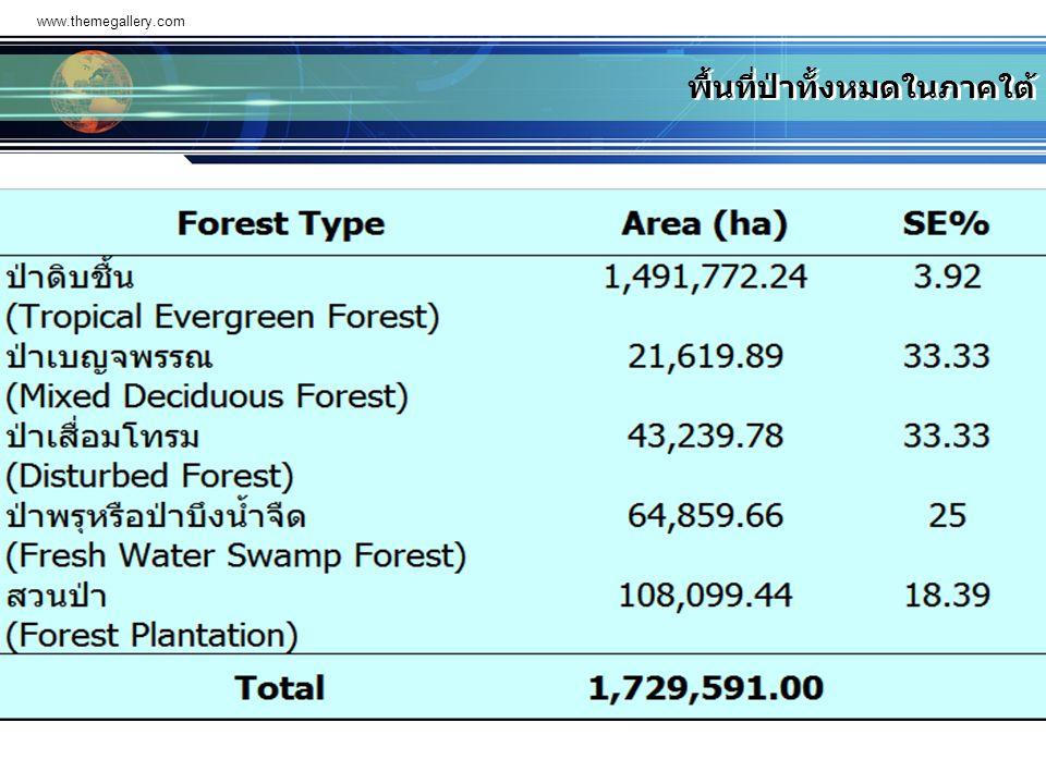 พื้นที่ป่าทั้งหมดในภาคใต้