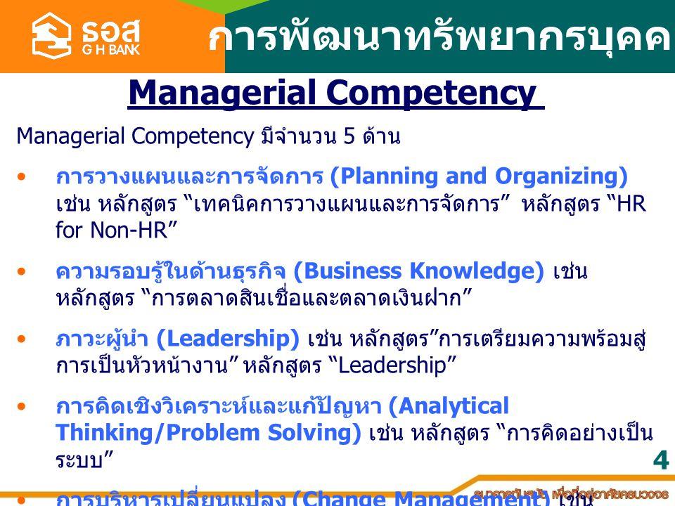 การพัฒนาทรัพยากรบุคคล Managerial Competency