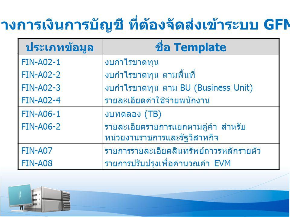 ข้อมูลทางการเงินการบัญชี ที่ต้องจัดส่งเข้าระบบ GFMIS-SOE