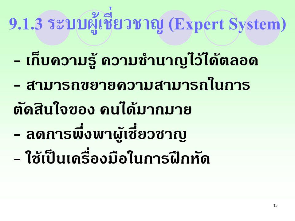 9.1.3 ระบบผู้เชี่ยวชาญ (Expert System)