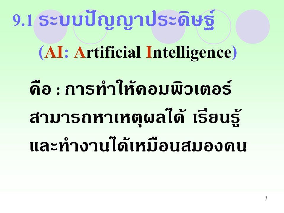 9.1 ระบบปัญญาประดิษฐ์ (AI: Artificial Intelligence)