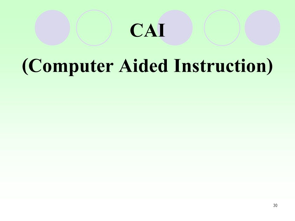 CAI (Computer Aided Instruction)