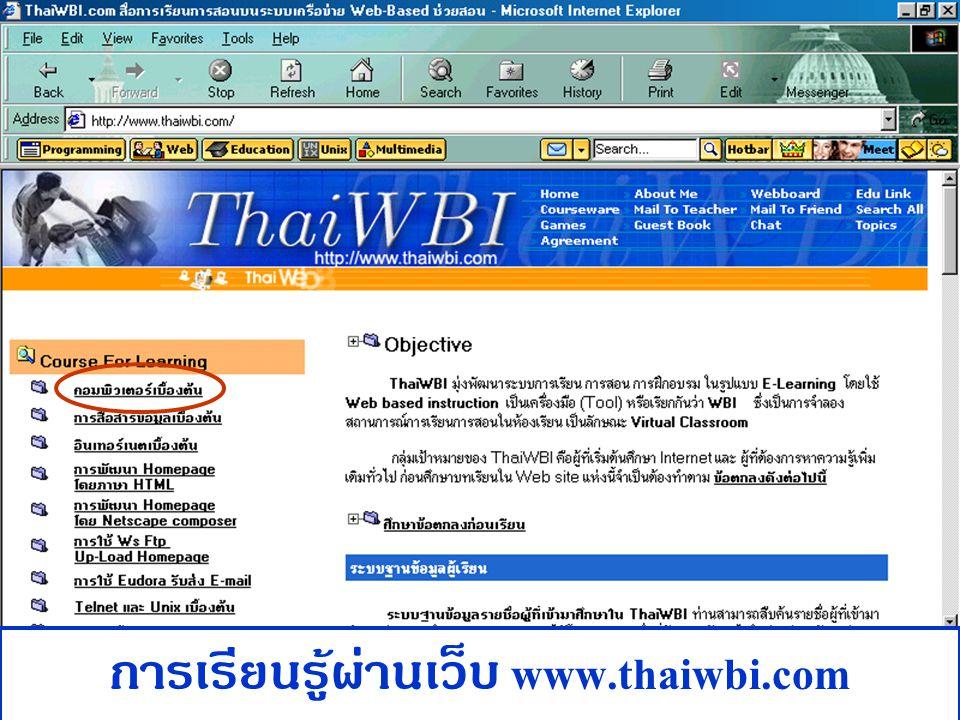 การเรียนรู้ผ่านเว็บ www.thaiwbi.com