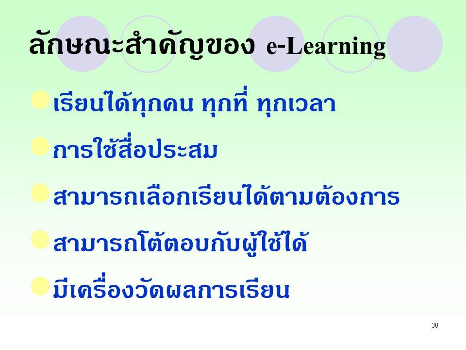 ลักษณะสำคัญของ e-Learning