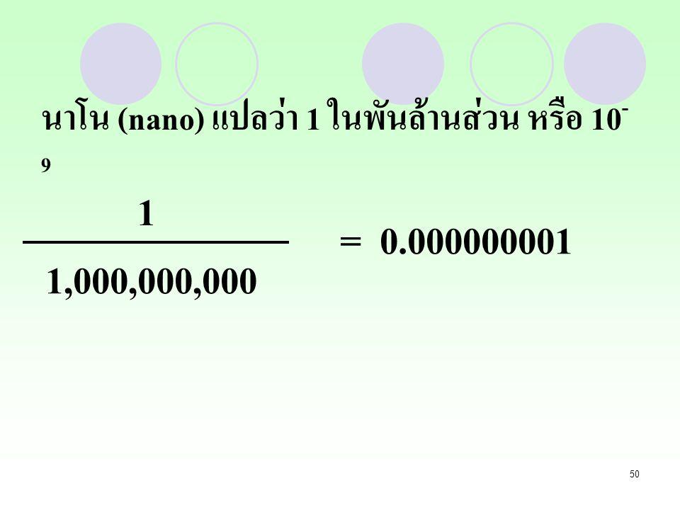 นาโน (nano) แปลว่า 1 ในพันล้านส่วน หรือ 10-9