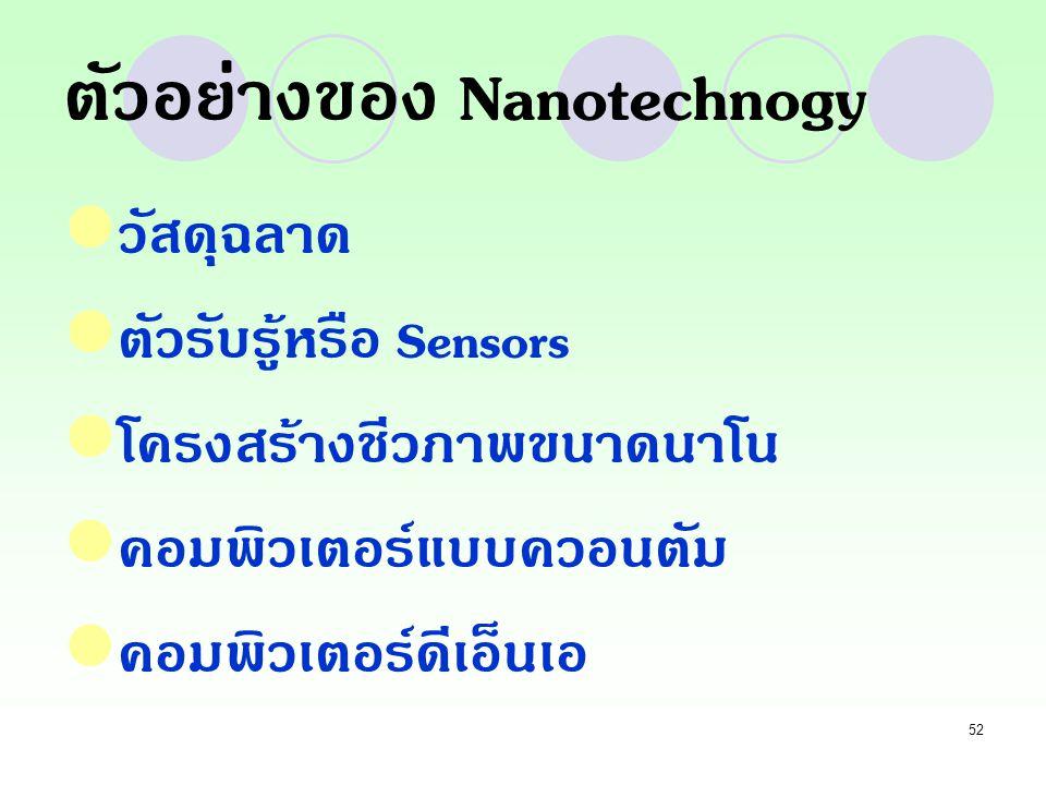ตัวอย่างของ Nanotechnogy