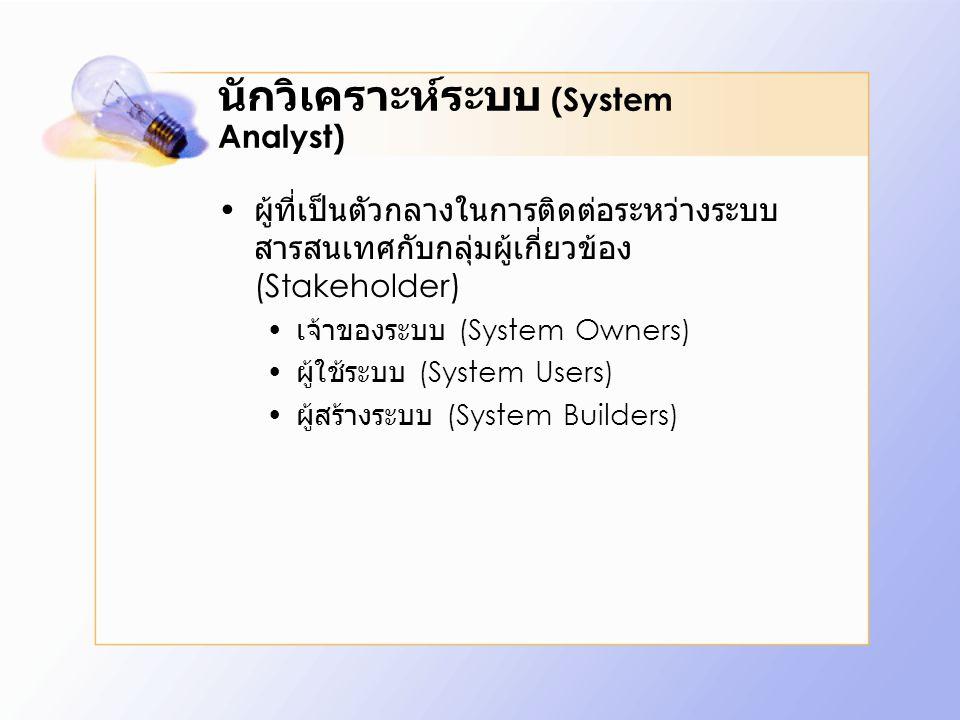 นักวิเคราะห์ระบบ (System Analyst)