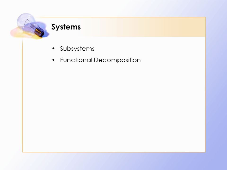 Systems Subsystems Functional Decomposition