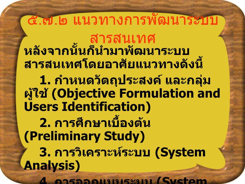 ๕.๗.๒ แนวทางการพัฒนาระบบสารสนเทศ