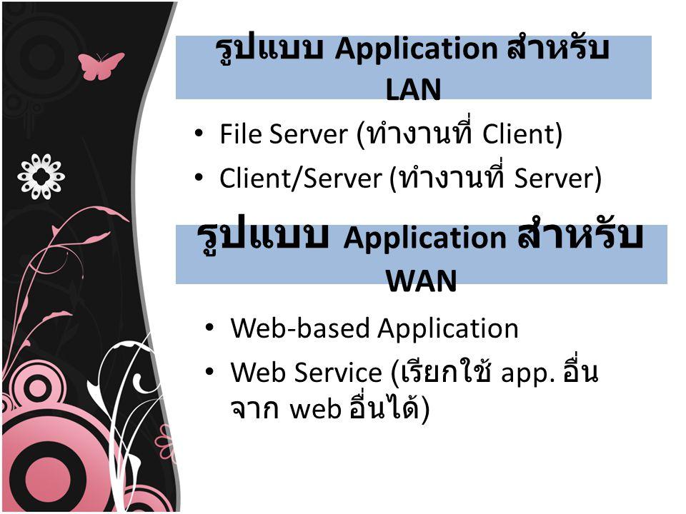 รูปแบบ Application สำหรับ LAN