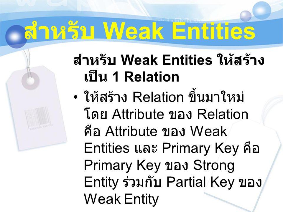 สำหรับ Weak Entities สำหรับ Weak Entities ให้สร้างเป็น 1 Relation