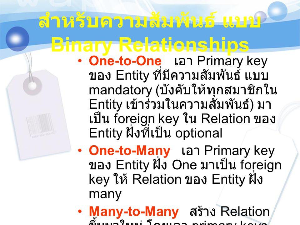 สำหรับความสัมพันธ์ แบบ Binary Relationships