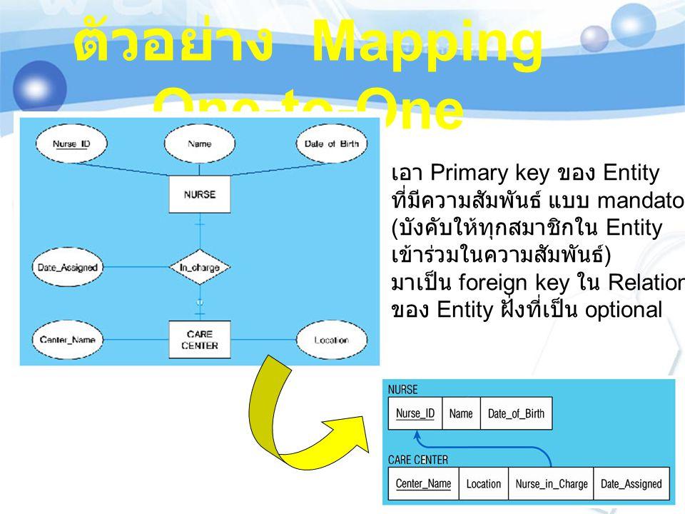 ตัวอย่าง Mapping One-to-One