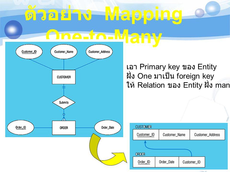 ตัวอย่าง Mapping One-to-Many