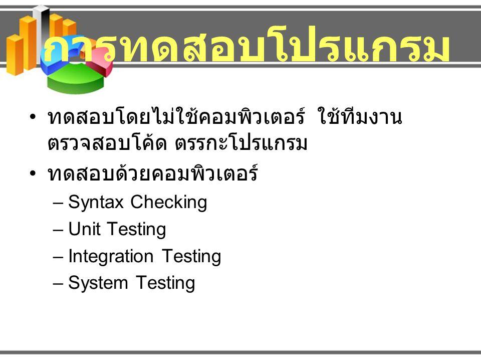 การทดสอบโปรแกรม ทดสอบโดยไม่ใช้คอมพิวเตอร์ ใช้ทีมงานตรวจสอบโค้ด ตรรกะโปรแกรม. ทดสอบด้วยคอมพิวเตอร์
