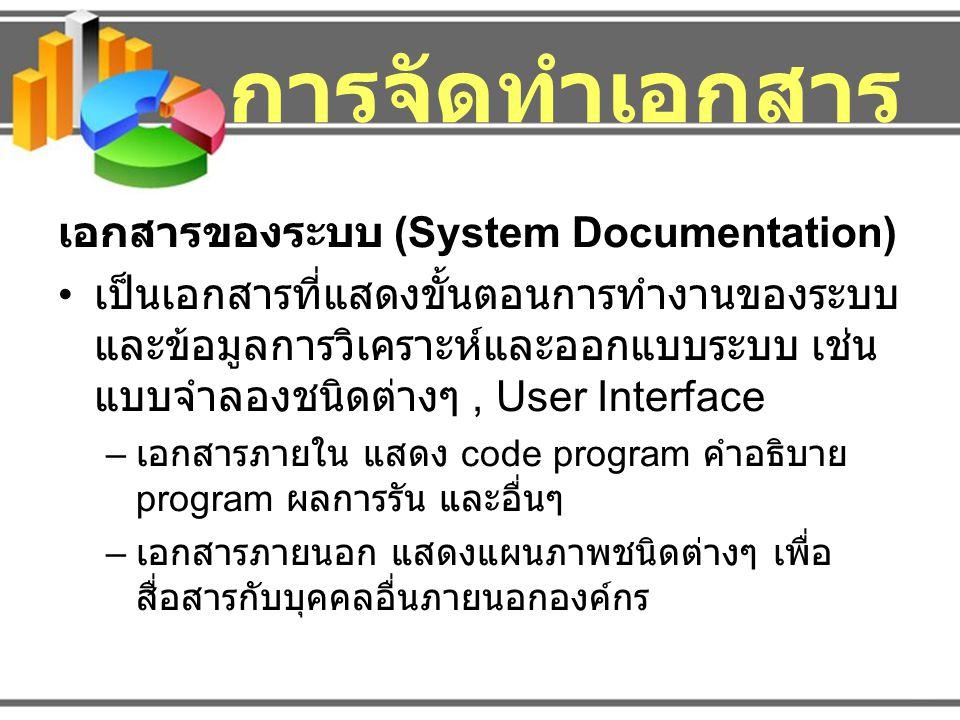 การจัดทำเอกสาร เอกสารของระบบ (System Documentation)