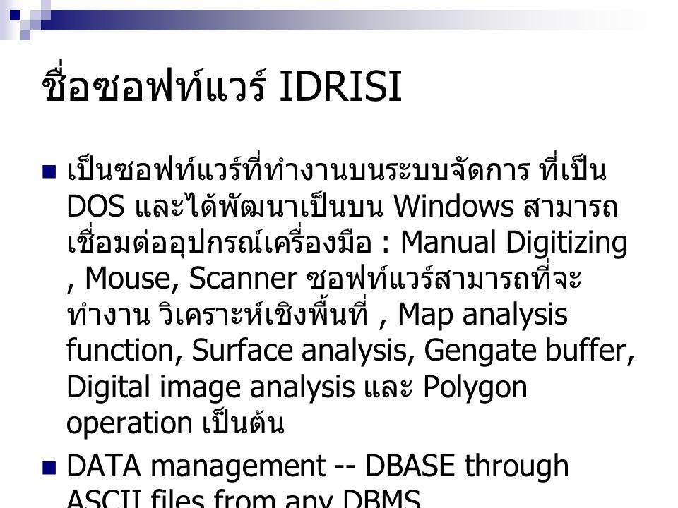 ชื่อซอฟท์แวร์ IDRISI