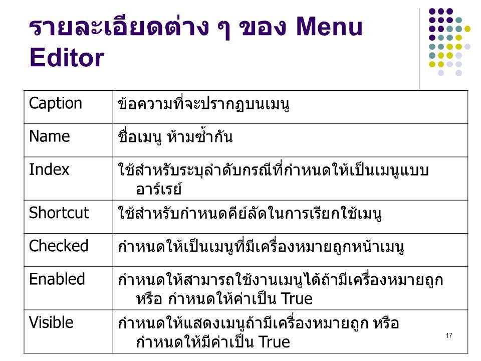 รายละเอียดต่าง ๆ ของ Menu Editor