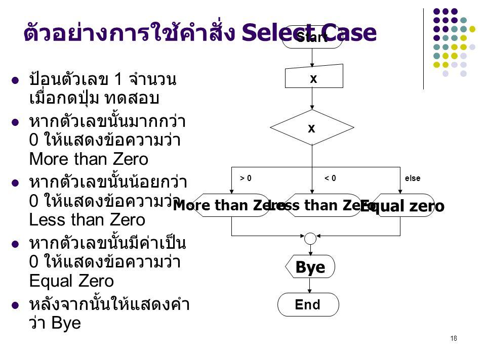 ตัวอย่างการใช้คำสั่ง Select Case
