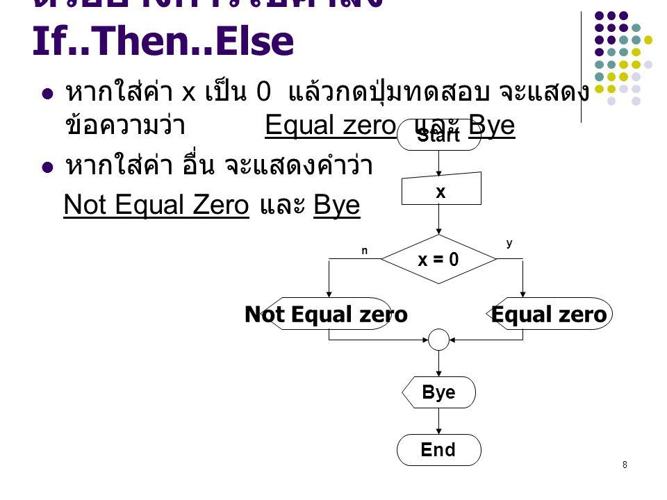 ตัวอย่างการใช้คำสั่ง If..Then..Else