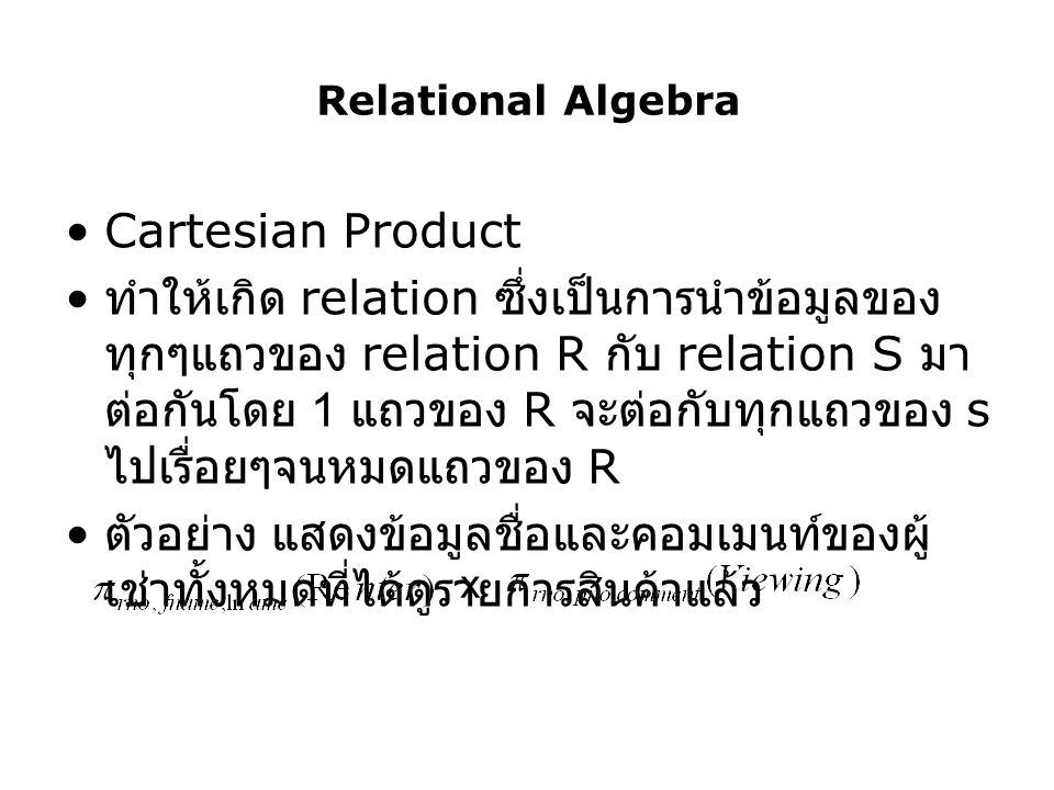 Relational Algebra Cartesian Product.