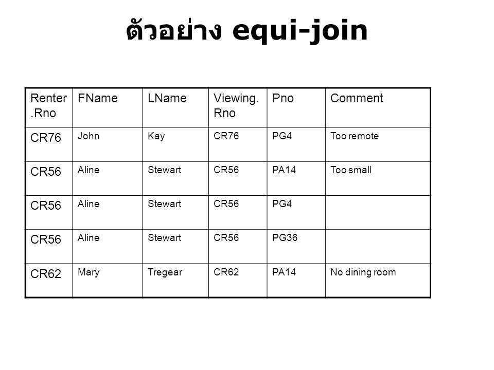 ตัวอย่าง equi-join Renter.Rno FName LName Viewing.Rno Pno Comment CR76