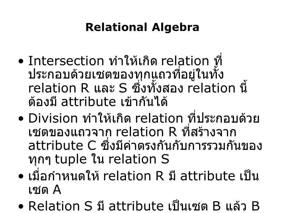 เมื่อกำหนดให้ relation R มี attribute เป็นเซต A