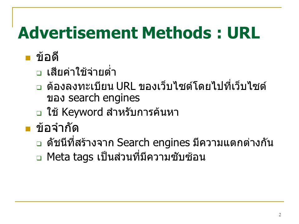 Advertisement Methods : URL
