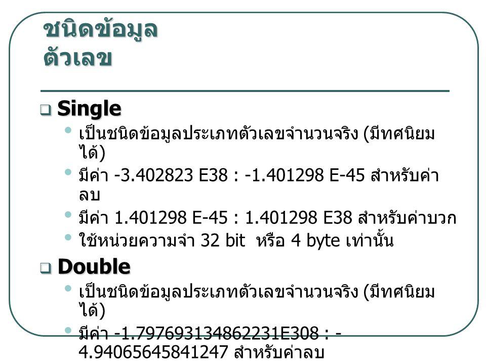 ชนิดข้อมูล ตัวเลข Single Double