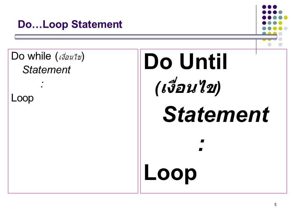 Do Until (เงื่อนไข) Statement : Loop Do…Loop Statement