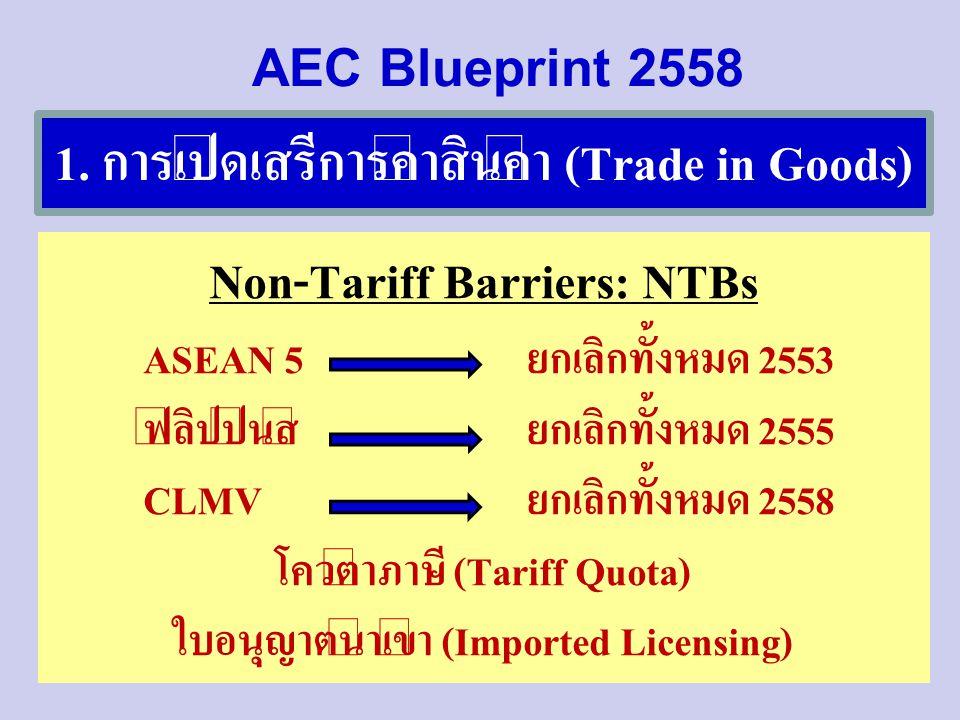 1. การเปิดเสรีการค้าสินค้า (Trade in Goods) Non-Tariff Barriers: NTBs