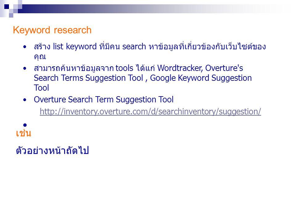 Keyword research เช่น ตัวอย่างหน้าถัดไป