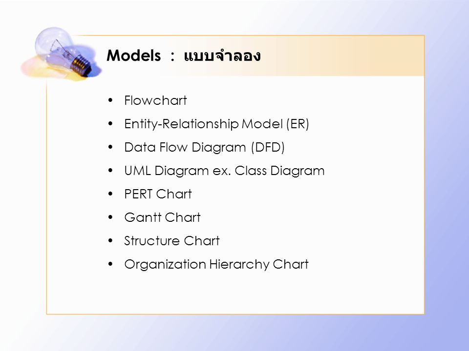 Models : แบบจำลอง Flowchart Entity-Relationship Model (ER)