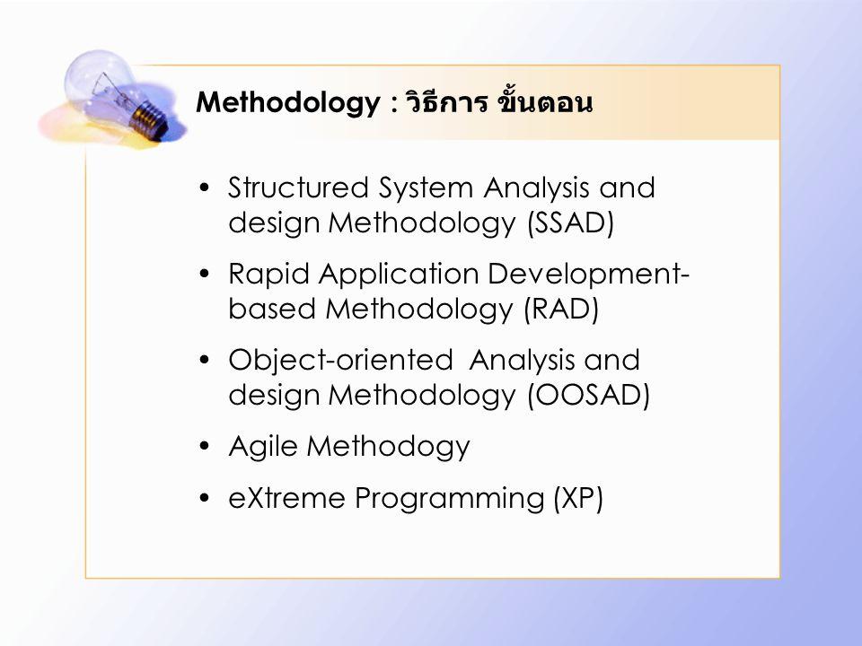 Methodology : วิธีการ ขั้นตอน