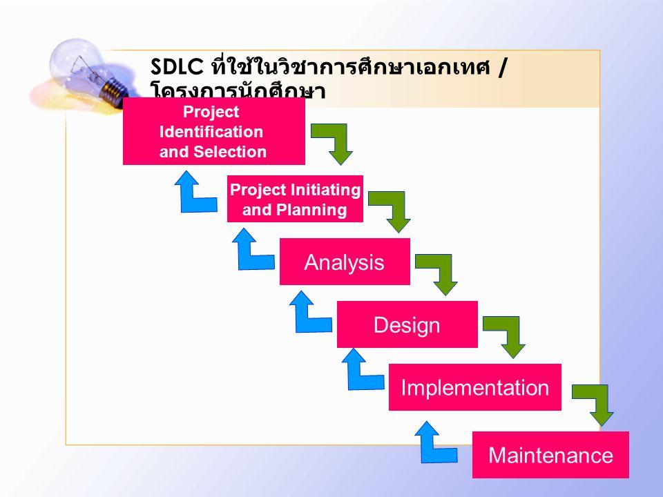 SDLC ที่ใช้ในวิชาการศึกษาเอกเทศ / โครงการนักศึกษา