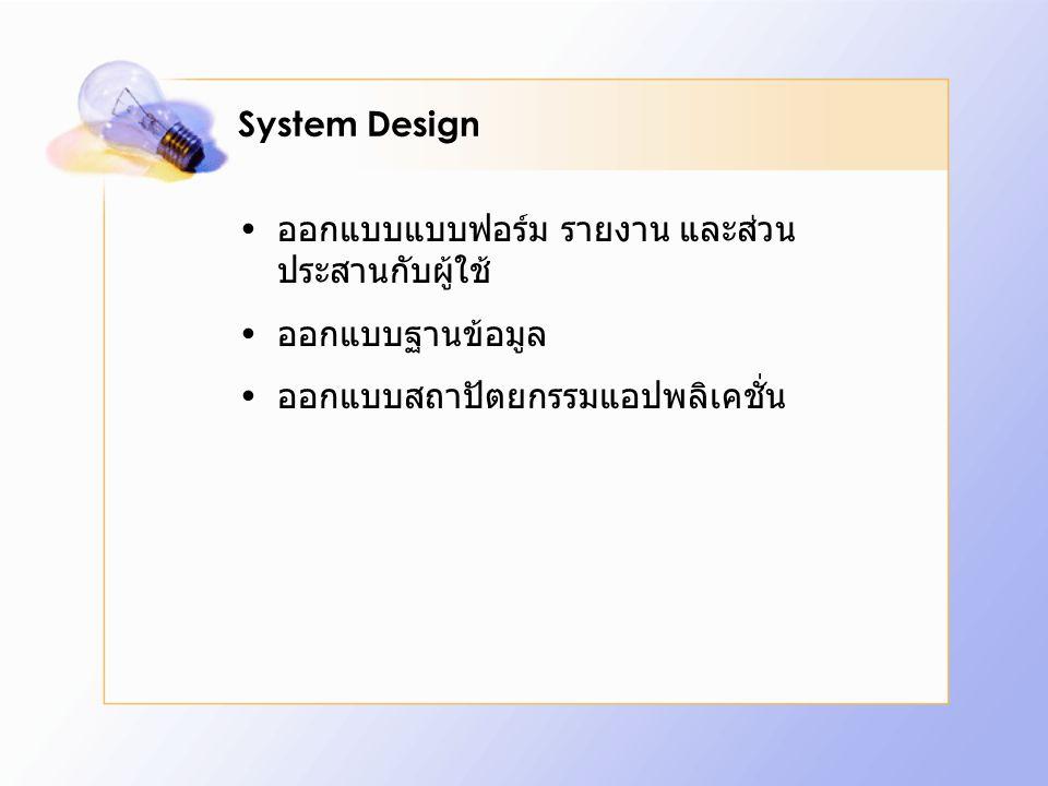 System Design ออกแบบแบบฟอร์ม รายงาน และส่วนประสานกับผู้ใช้ ออกแบบฐานข้อมูล.