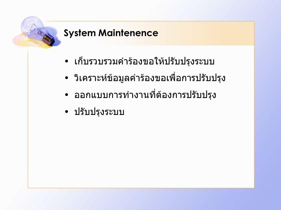 System Maintenence เก็บรวบรวมคำร้องขอให้ปรับปรุงระบบ. วิเคราะห์ข้อมูลคำร้องขอเพื่อการปรับปรุง. ออกแบบการทำงานที่ต้องการปรับปรุง.