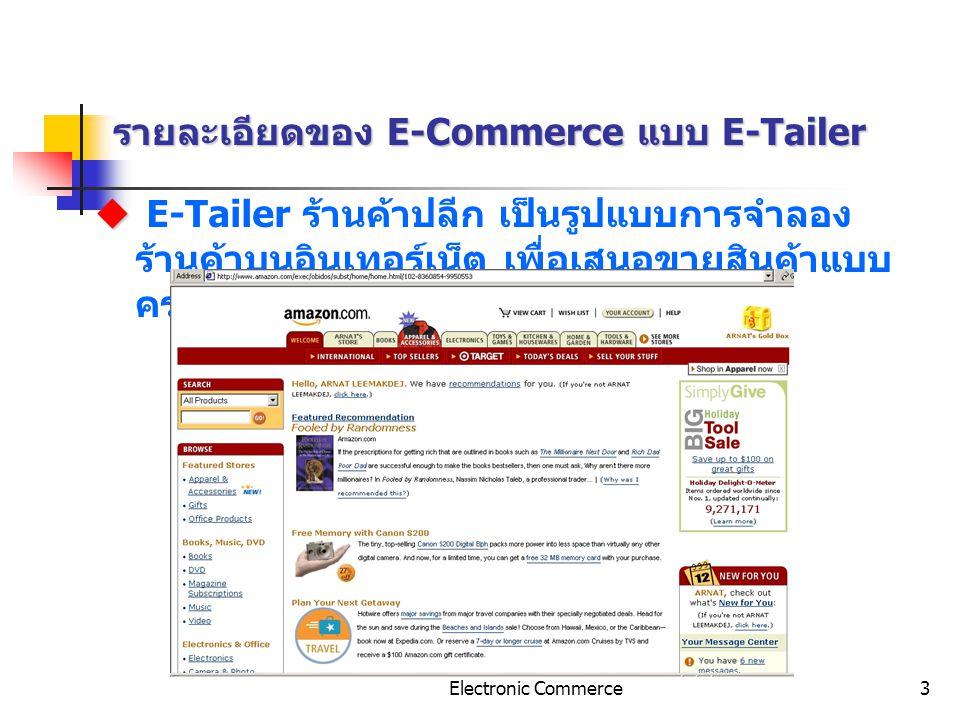 รายละเอียดของ E-Commerce แบบ E-Tailer