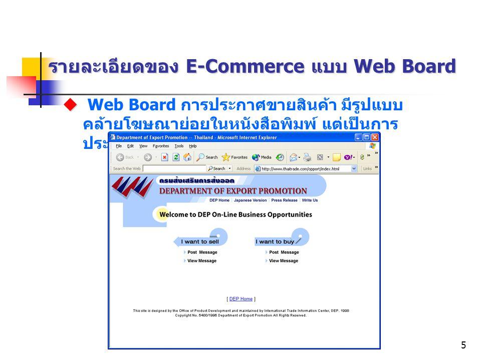 รายละเอียดของ E-Commerce แบบ Web Board